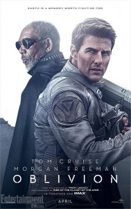 "Movie poster for ""Oblivion"", starring Tom Cruise and Morgan Freeman."