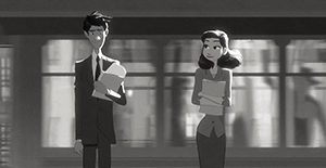 "Scene from the animated short, ""Paperman""."