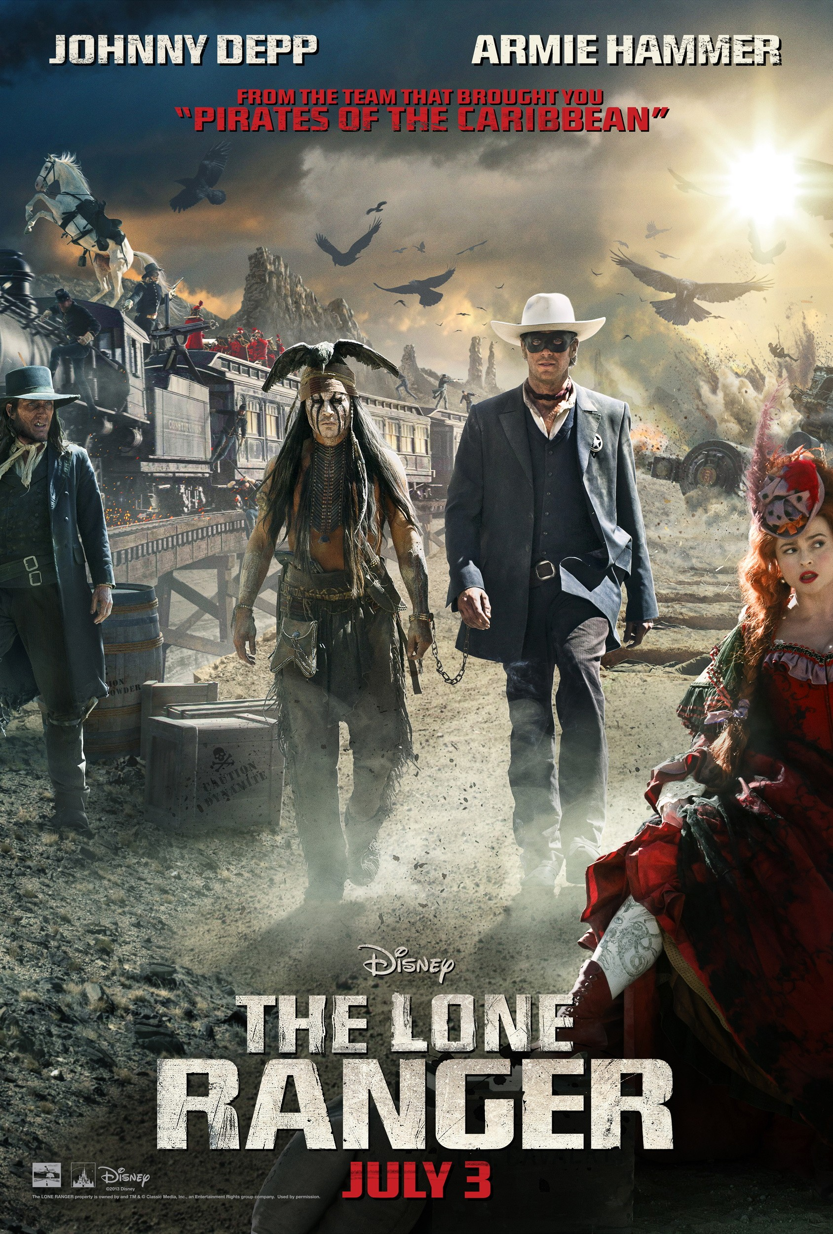 "Theatrical poster for ""The Lone Ranger"" starring Johnny Depp and Armie Hammer."