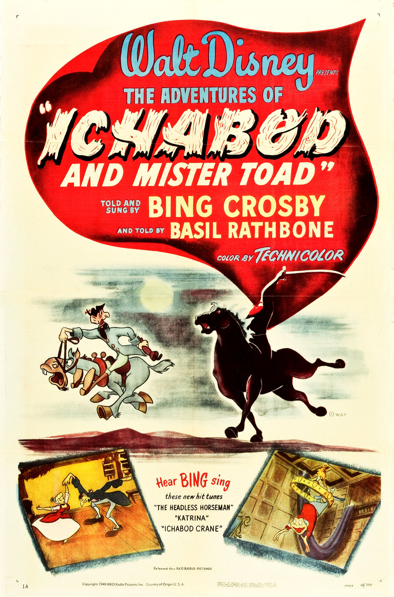 """Original theatrical poster for """"The Adventures of Ichabod and Mr. Toad"""" from Walt Disney."""