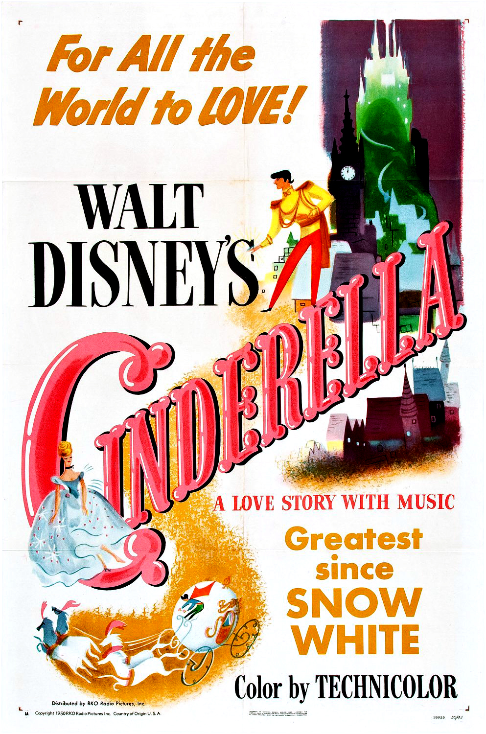 "Poster for the 1950 animated classic ""Cinderella""."