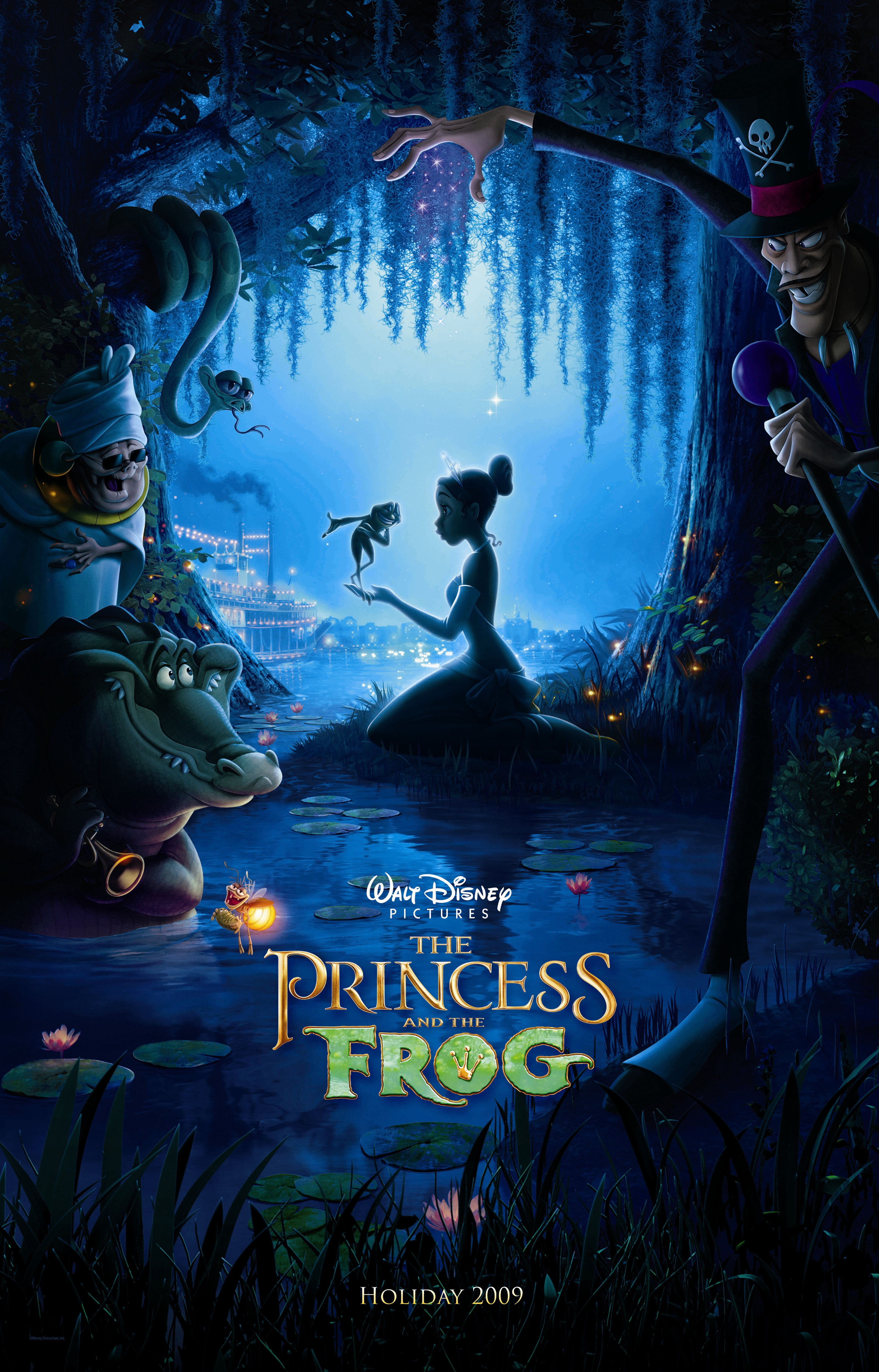 "Theatrical teaser poster for ""The Princess and he Frog""."