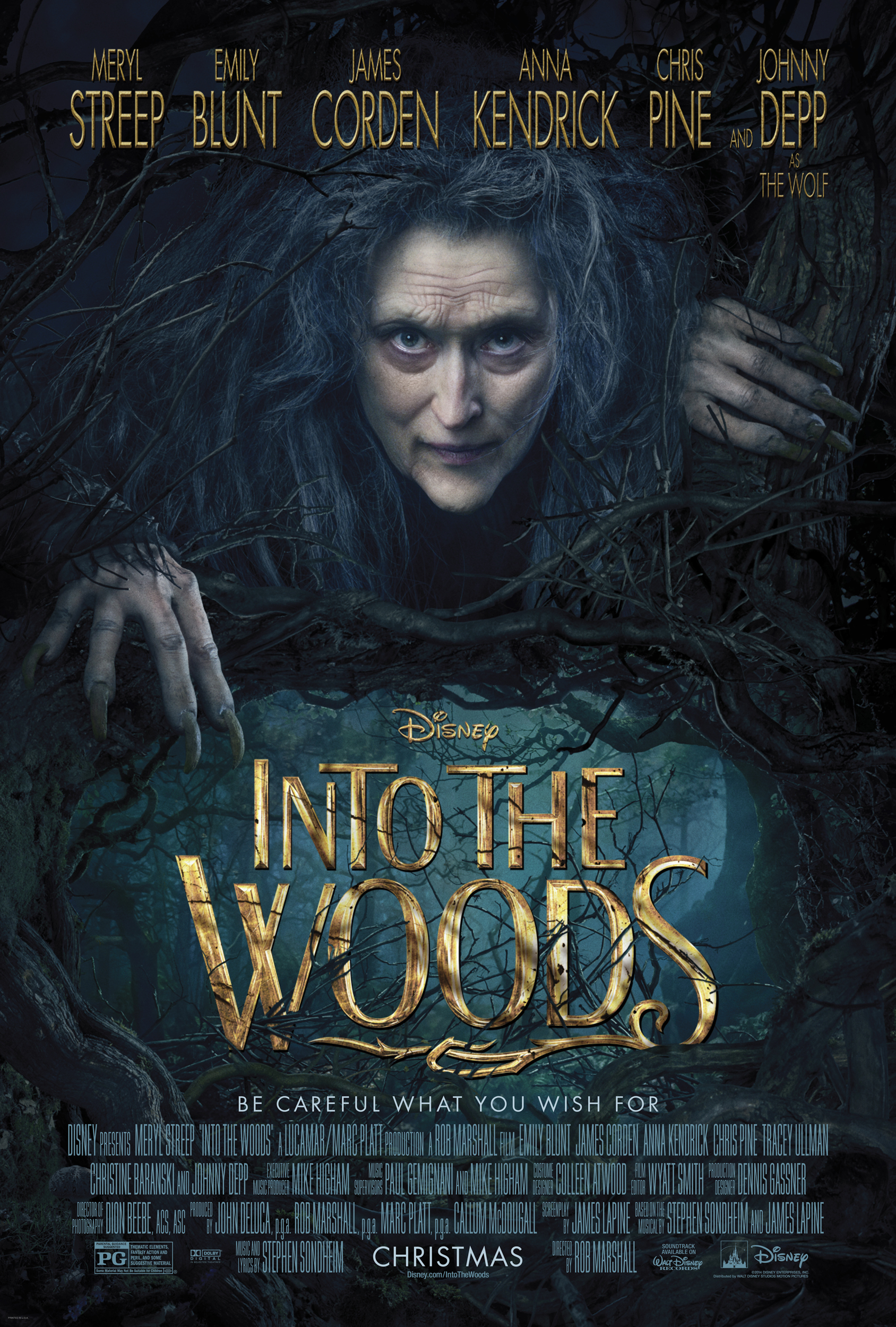 """Theatrical poster for """"Into the Woods"""" (2014 film)."""